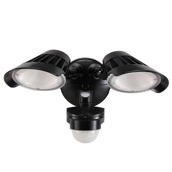 55-230 Twin LED Spotlight 40W With Motion Sensor (Black)